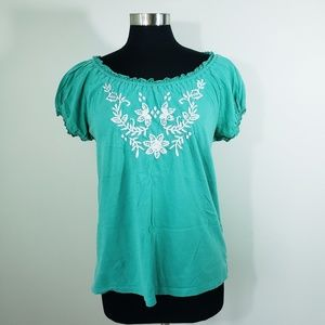 Kim Rogers Green Embroidered Top